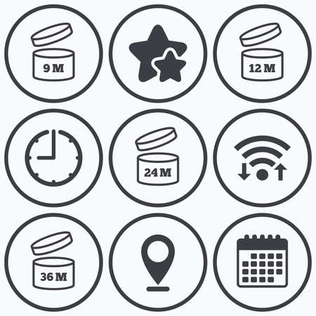 expiration date: Clock, wifi and stars icons. After opening use icons. Expiration date 9-36 months of product signs symbols. Shelf life of grocery item. Calendar symbol.