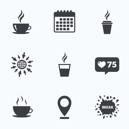 takeout: Calendar, like counter and go to web icons. Coffee cup icon. Hot drinks glasses symbols. Take away or take-out tea beverage signs. Location pointer.