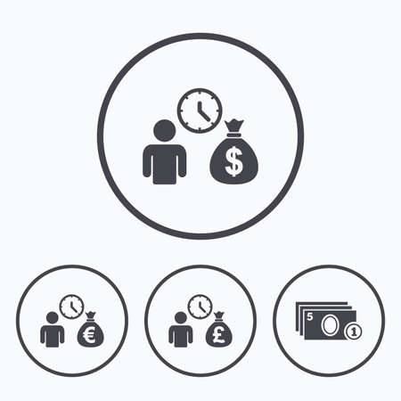 loans: Bank loans icons. Cash money bag symbols. Borrow money sign. Get Dollar money fast. Icons in circles. Illustration
