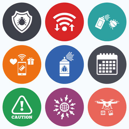 Wifi, mobile payments and drones icons. Bug disinfection icons. Caution attention and shield symbols. Insect fumigation spray sign. Calendar symbol.