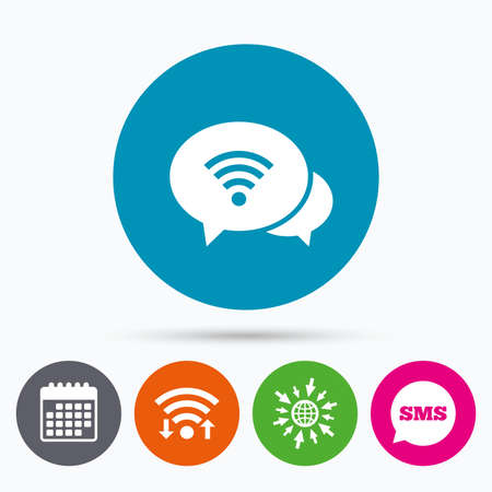 chat bubbles: Wifi, Sms and calendar icons. Chat speech bubbles. Wifi sign. Wi-fi symbol. Wireless Network icon. Wifi zone. Go to web globe. Illustration
