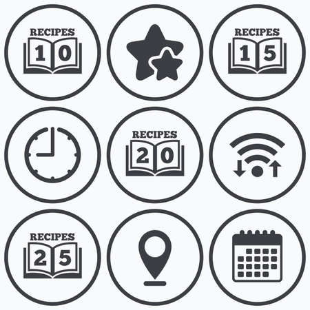 15 20: Clock, wifi and stars icons. Cookbook icons. 10, 15, 20 and 25 recipes book sign symbols. Calendar symbol.