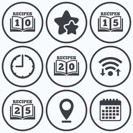 cookbook: Clock, wifi and stars icons. Cookbook icons. 10, 15, 20 and 25 recipes book sign symbols. Calendar symbol.