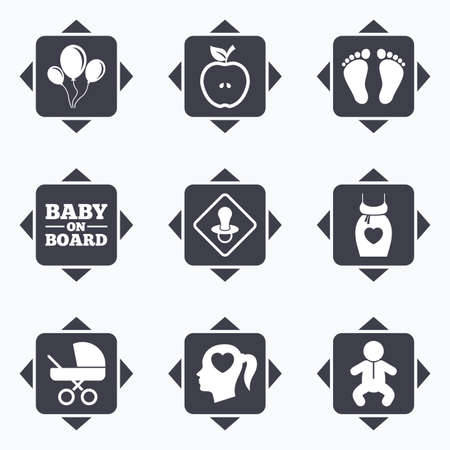 newborn footprint: Icons with direction arrows. Pregnancy, maternity and baby care icons. Air balloon, baby carriage and pacifier signs. Footprint, apple and newborn symbols. Square buttons. Illustration