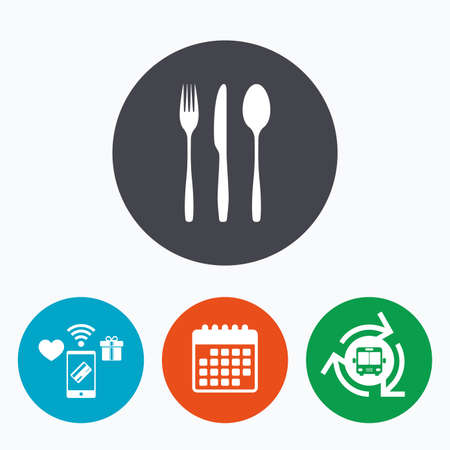 tablespoon: Fork, knife, tablespoon sign icon. Cutlery collection set symbol. Mobile payments, calendar and wifi icons. Bus shuttle.