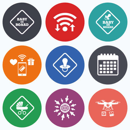 buggy: Wifi, mobile payments and drones icons. Baby on board icons. Infant caution signs. Child buggy carriage symbol. Calendar symbol.