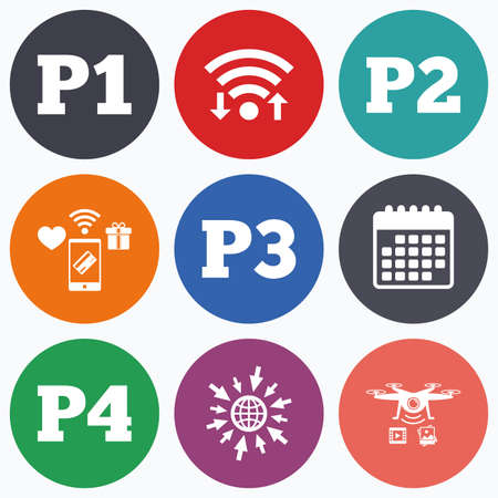 second floor: Wifi, mobile payments and drones icons. Car parking icons. First, second, third and four floor signs. P1, P2, P3 and P4 symbols. Calendar symbol.