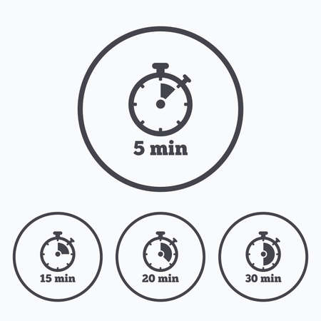 15 20: Timer icons. 5, 15, 20 and 30 minutes stopwatch symbols. Icons in circles.