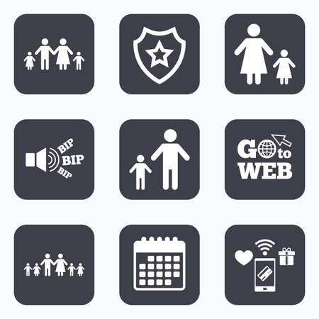 large family: Mobile payments, wifi and calendar icons. Large family with children icon. Parents and kids symbols. One-parent family signs. Mother and father divorce. Go to web symbol.