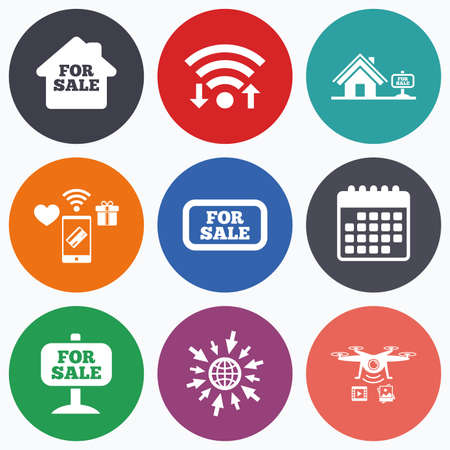 house for sale: Wifi, mobile payments and drones icons. For sale icons. Real estate selling signs. Home house symbol. Calendar symbol.