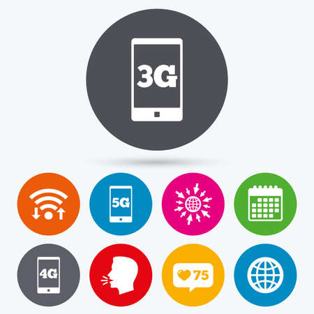 3g: Wifi, like counter and calendar icons. Mobile telecommunications icons. 3G, 4G and 5G technology symbols. World globe sign. Human talk, go to web.