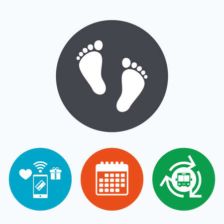 first steps: Child pair of footprint sign icon. Toddler barefoot symbol. Babys first steps. Mobile payments, calendar and wifi icons. Bus shuttle. Illustration