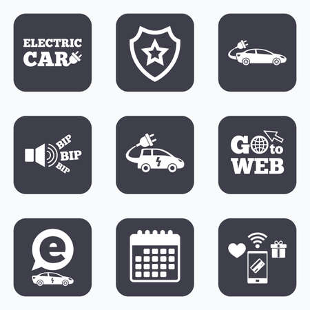 hatchback: Mobile payments, wifi and calendar icons. Electric car icons. Sedan and Hatchback transport symbols. Eco fuel vehicles signs. Go to web symbol.