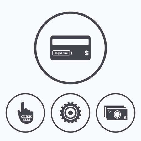 withdrawals: ATM cash machine withdrawal icons. Insert bank card, click here and check PIN, processing and get cash symbols. Icons in circles. Illustration