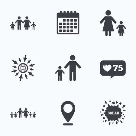large family: Calendar, like counter and go to web icons. Large family with children icon. Parents and kids symbols. One-parent family signs. Mother and father divorce. Location pointer.