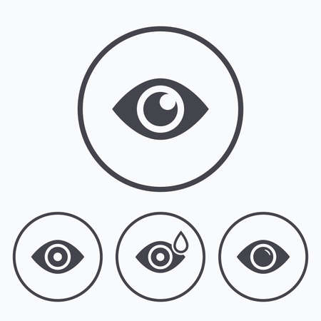 red eye: Eye icons. Water drops in the eye symbols. Red eye effect signs. Icons in circles.