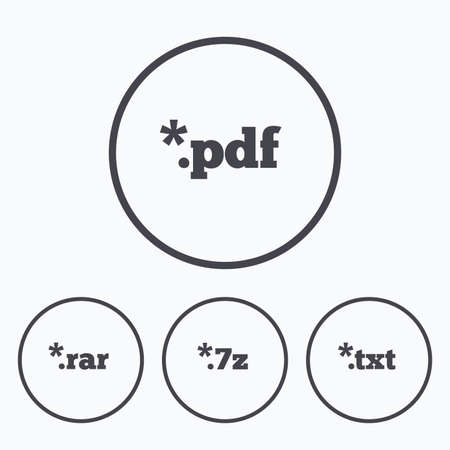 extensions: Document icons. File extensions symbols. PDF, RAR, 7z and TXT signs. Icons in circles. Illustration