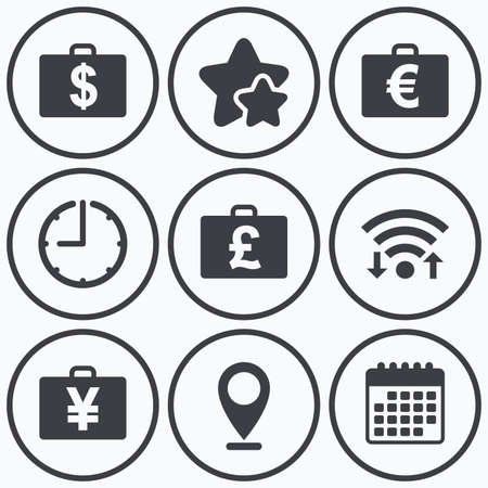 diplomat: Clock, wifi and stars icons. Businessman case icons. Cash money diplomat signs. Dollar, euro and pound symbols. Calendar symbol.