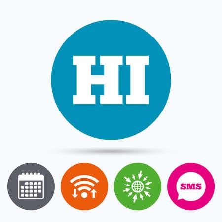 hindi: Wifi, Sms and calendar icons. Hindi language sign icon. HI India translation symbol. Go to web globe.