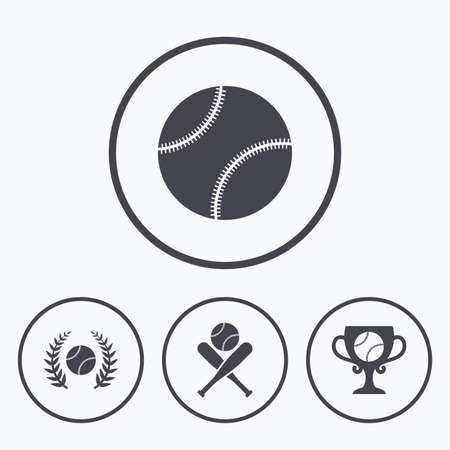 crosswise: Baseball sport icons. Ball with glove and two crosswise bats signs. Winner award cup symbol. Icons in circles.