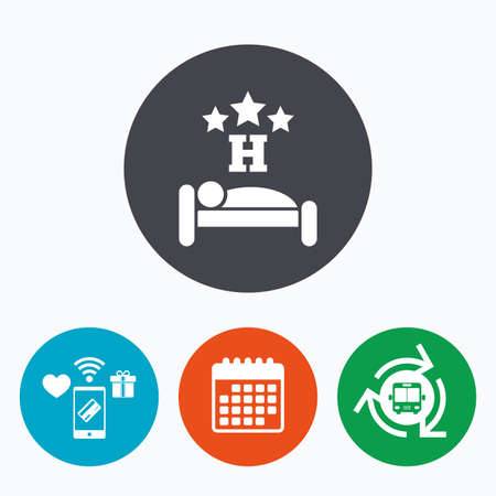 sleeper: Three star Hotel apartment sign icon. Travel rest place. Sleeper symbol. Mobile payments, calendar and wifi icons. Bus shuttle.