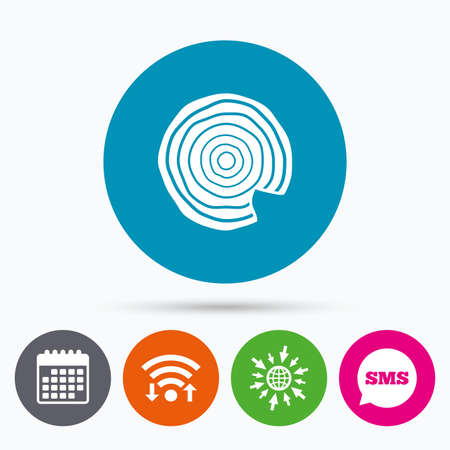 nick: Wifi, Sms and calendar icons. Wood sign icon. Tree growth rings. Tree trunk cross-section with nick. Go to web globe.