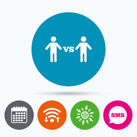 vs: Wifi, Sms and calendar icons. Player vs player sign icon. Games human symbol. Go to web globe. Illustration