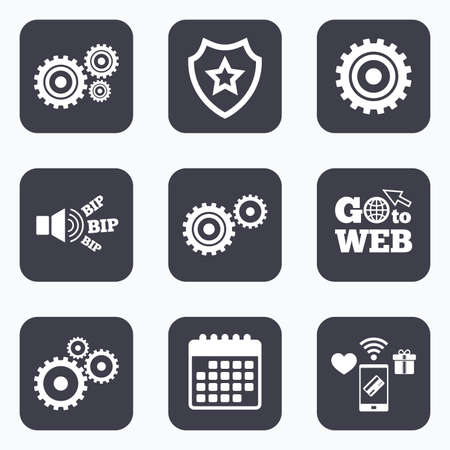 mobile website: Mobile payments, wifi and calendar icons. Cogwheel gear icons. Mechanism symbol. Website or App settings sign. Working process performance. Go to web symbol.