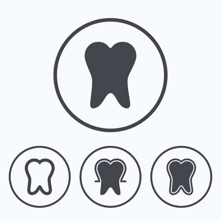 enamel: Tooth enamel protection icons. Dental care signs. Healthy teeth symbols. Icons in circles.