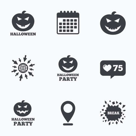 hallows: Calendar, like counter and go to web icons. Halloween pumpkin icons. Halloween party sign symbol. All Hallows Day celebration. Location pointer. Illustration