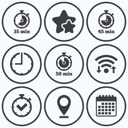 45 50: Clock, wifi and stars icons. Timer icons. 35, 45 and 50 minutes stopwatch symbols. Check or Tick mark. Calendar symbol.