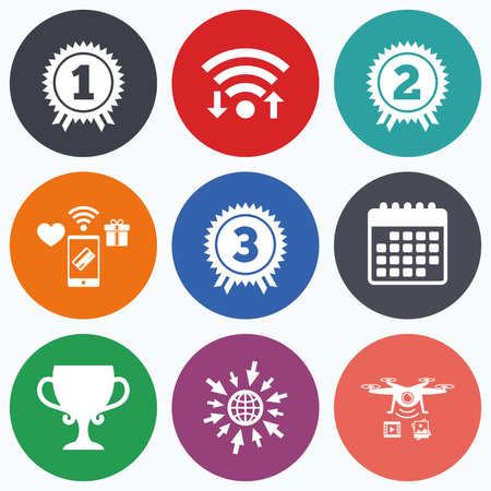 second prize: Wifi, mobile payments and drones icons. First, second and third place icons. Award medals sign symbols. Prize cup for winner. Calendar symbol.