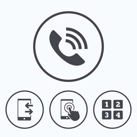 touch screen phone: Phone icons. Touch screen smartphone sign. Call center support symbol. Cellphone keyboard symbol. Incoming and outcoming calls. Icons in circles. Illustration