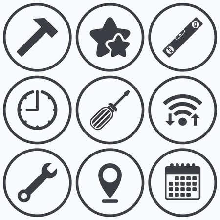 bubble level: Clock, wifi and stars icons. Screwdriver and wrench key tool icons. Bubble level and hammer sign symbols. Calendar symbol.