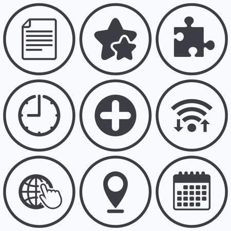 puzzle globe: Clock, wifi and stars icons. Plus add circle and puzzle piece icons. Document file and globe with hand pointer sign symbols. Calendar symbol.