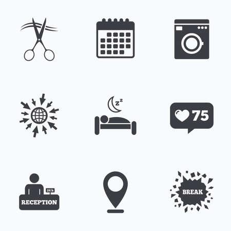 Calendario, come banco e andare a icone web. Icone servizi alberghieri. Lavatrice o un segno di lavanderia. Parrucchiere o un simbolo di barbiere. Ricevimento tabella di registrazione. sonno tranquillo. puntatore Posizione. Vettoriali