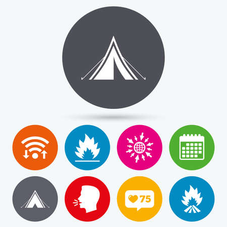 flame like: Wifi, like counter and calendar icons. Tourist camping tent icons. Fire flame sign symbols. Human talk, go to web.