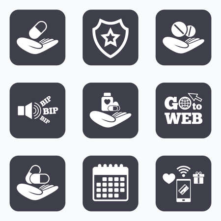 doctor holding pills: Mobile payments, wifi and calendar icons. Helping hands icons. Medical health insurance symbols. Drugs pills bottle signs. Medicine tablets. Go to web symbol.