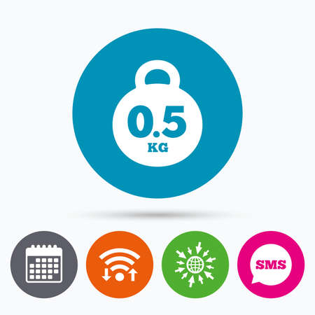 kilograms: Wifi, Sms and calendar icons. Weight sign icon. 0.5 kilogram (kg). Envelope mail weight. Go to web globe. Illustration