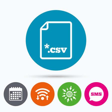 csv: Wifi, Sms and calendar icons. File document icon. Download tabular data file button. CSV file extension symbol. Go to web globe. Illustration