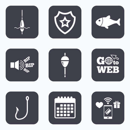 fisheries: Mobile payments, wifi and calendar icons. Fishing icons. Fish with fishermen hook sign. Float bobber symbol. Go to web symbol. Illustration