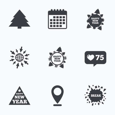 new year counter: Calendar, like counter and go to web icons. Happy new year icon. Christmas trees signs. World globe symbol. Location pointer. Illustration