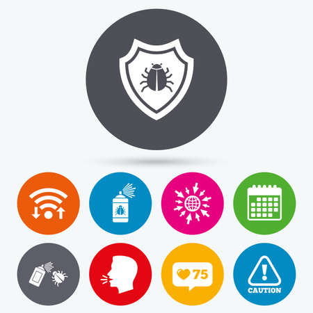 insanitary: Wifi, like counter and calendar icons. Bug disinfection icons. Caution attention and shield symbols. Insect fumigation spray sign. Human talk, go to web.