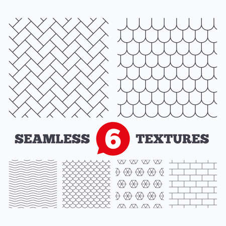 Wellen und Geometrie Design. Ziegel, Ziegeldach und Pflasterstein nahtlose Texturen. Lineare geometrische Muster. Moderne Texturen. Material-Muster.