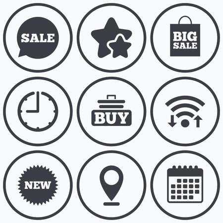 big timer: Clock, wifi and stars icons. Sale speech bubble icon. Buy cart symbol. New star circle sign. Big sale shopping bag. Calendar symbol.