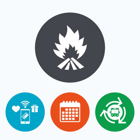 escape: Fire flame sign icon. Heat symbol. Stop fire. Escape from fire. Mobile payments, calendar and wifi icons. Bus shuttle. Illustration