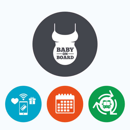 big breast: Pregnant woman shirt sign icon. Baby on board. Maternity symbol Mobile payments, calendar and wifi icons. Bus shuttle.
