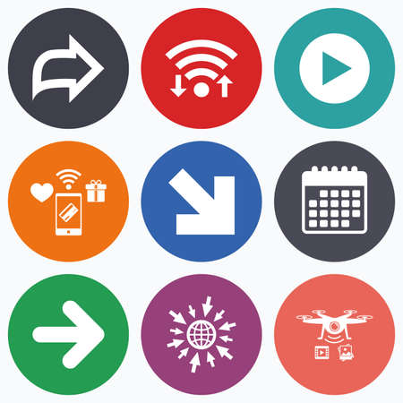 arrowhead: Wifi, mobile payments and drones icons. Arrow icons. Next navigation arrowhead signs. Direction symbols. Calendar symbol. Illustration