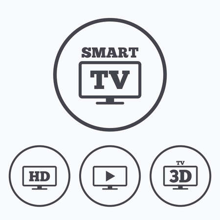 3d mode: Smart TV mode icon. Widescreen symbol. High-definition resolution. 3D Television sign. Icons in circles.