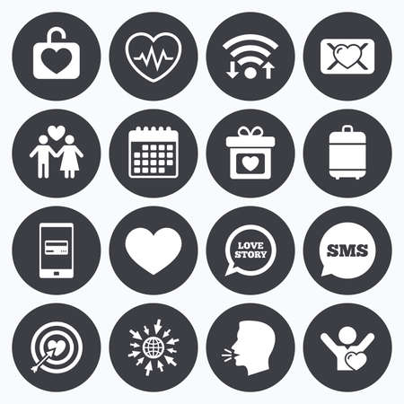 oath: Wifi, calendar and mobile payments. Love, valentine day icons. Target with heart, oath letter and locker symbols. Couple lovers, heartbeat signs. Sms speech bubble, go to web symbols. Illustration